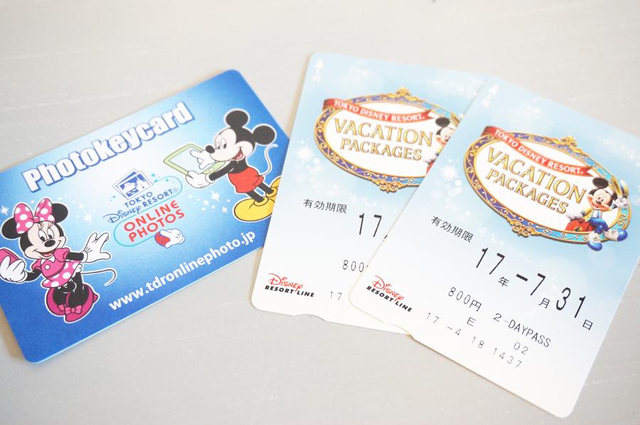 ディズニーバケーションパッケージリゾートライン切符とフォトキーカード